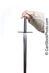 Hands on sword - Medieval warior with hands on sword