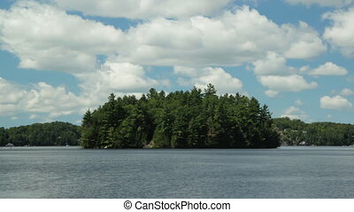 Timelapse island. - Summer lake and island with timelapse...