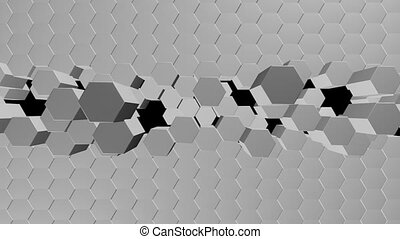 a cosmic view. A large expansion of hexagons. seamless...