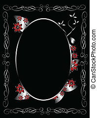 A gothic silver floral  design with room for text on a black background