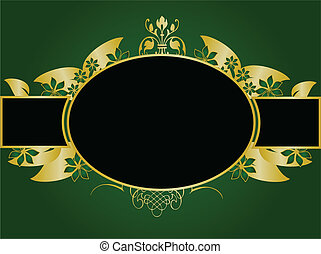 Green and Gold Floral Vector Illustration