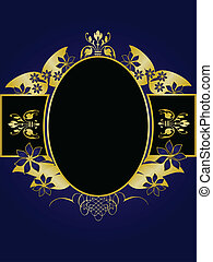 A gold floral design with room for text on a royal blue and black background