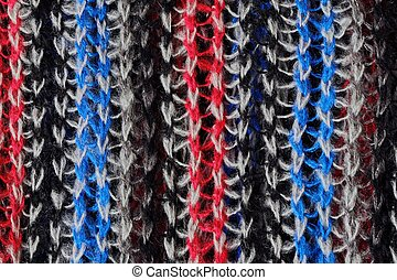 Wool knitted scarf blue red white colors