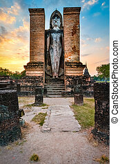 Budha in Wat Mahathat, historical park which covers the...