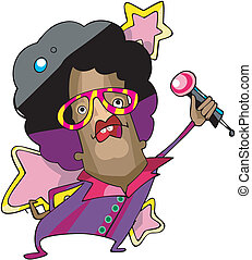 Pop star singer cartoon - Pop star singer with large idiotic...