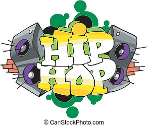 Hip Hop graffiti design - Abstract graffito design with...