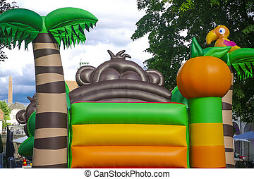 Bouncy Castle - Backside from colorful bouncy castle,...