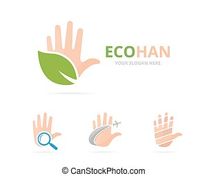 Set of hand logo combination. Arm and eco symbol or icon....