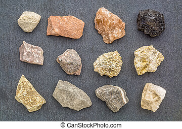 sedimentary rock geology collection, from top left:...