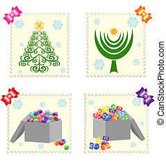 Christmas stamps isolated on white
