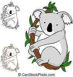 Koala on Branch - An image of a koala cartoon drawing
