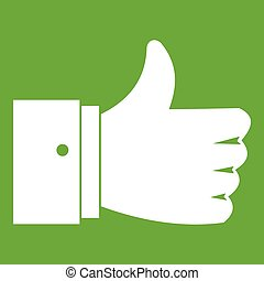 Thumb up gesture icon green - Thumb up gesture icon white...