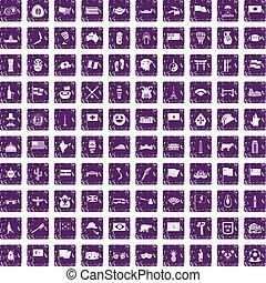 100 national flag icons set grunge purple - 100 national...