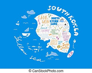 Hand drawn country map of Korea vector illustration, design....