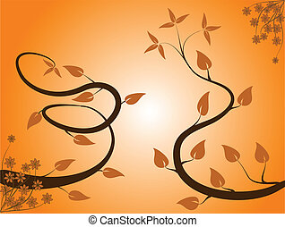 An abstract orange floral background