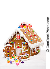 Winter Holiday Gingerbread house - Gingerbread house, man...