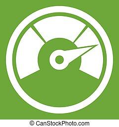 Speedometer icon green - Speedometer icon white isolated on...