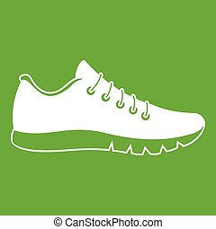 Sneakers icon green - Sneakers icon white isolated on green...