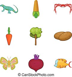 Root crop icons set, cartoon style - Root crop icons set....