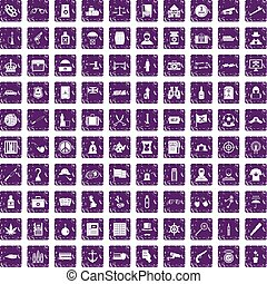 100 offence icons set grunge purple - 100 offence icons set...