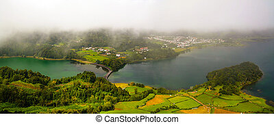 Aerial view to Azul and Verde lakes at Sete Cidades, Sao...