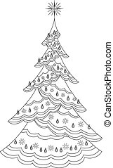 Christmas fir-tree with garland, contours