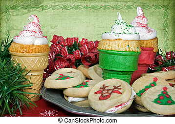 Holiday Cones - Ice cream cake cones with sugar cookies.