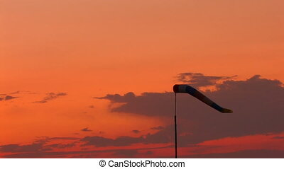 windsock moving from wind at sunset, Canon XH A1, Full...