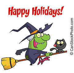 Witch And Cat Flying - Holidays Greeting With Halloween...