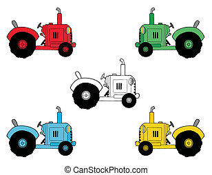 Digital Collage Of Farm Tractors - Digital Collage Of Black...