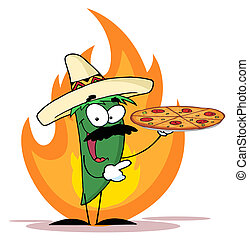 Chile Green Pepper Holds Up Pizza - Green Pepper Character...