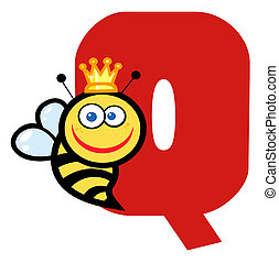 Letter Q With A Queen Bee