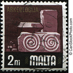 archeology - MALTA - CIRCA 1968: A stamp printed in Malta...