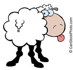 Sheep, aderindo, saída, seu, língua