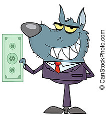 Wolf Businessman Holding Cash