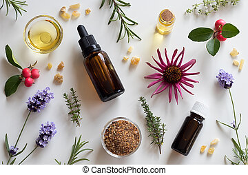 Selection of essential oils and herbs on a white background...