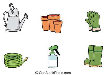 collage, redskapen, sätta, trädgårdsarbete