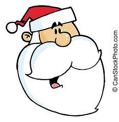 Santa Claus - Happy Cartoon Santa Head Facing Right