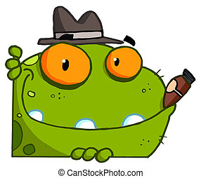Mobster Frog Cartoon Character - Mobster Frog With A Hat And...