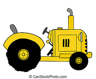 Yellow Farm Tractor - Vintage Yellow Farm Tractor