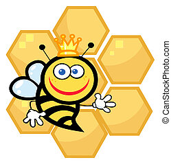 Happy Queen Bee With Honey Combs