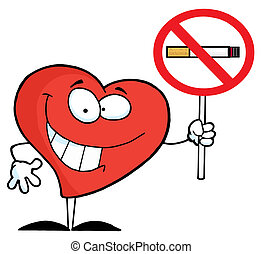Heart Holding Up A No Smoking Sign - Red Heart Holding A No...