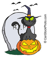 Cat on Pumpkin Near Tombstone - Black Cat Wearing A Witch...