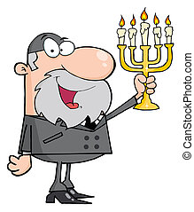 Rabbi Man Holding Up A Menorah - Happy Rabbi Man Holding Up...
