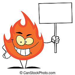Flame Holding A Blank White Sign
