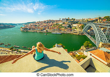Freedom woman at Douro River - Carefree woman with seagull...