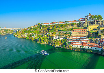 Monastery Serra do Pilar - Aerial view of tourist boat in...