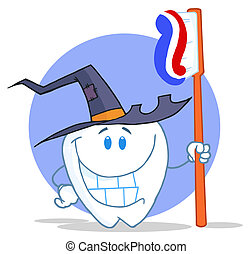 Smiling Halloween Tooth - Tooth Character Holding A...