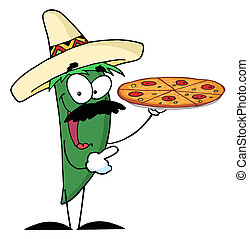 Pepper Character Holding A Pizza - Sombrero Chile Green...