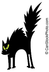 Black Cat Cartoon Charactrer - Scared Black And Green Eyed...